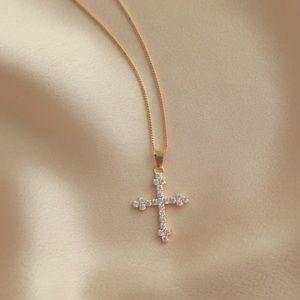 Diamond Cross Necklace | 18k Gold Filled